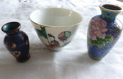 Antique Lovely Chinese Decorative Bowl & Two  Cloisonne Handpainted Vases