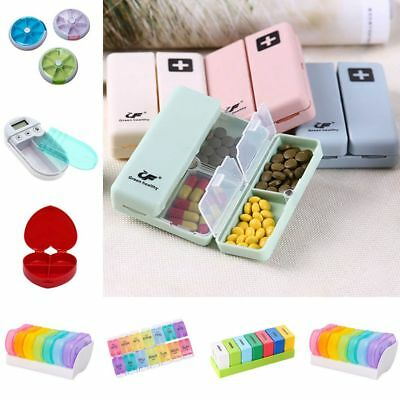 Compartment Pill Box 7Day Medicine Storage Organizer Container Case AM PM Weekly