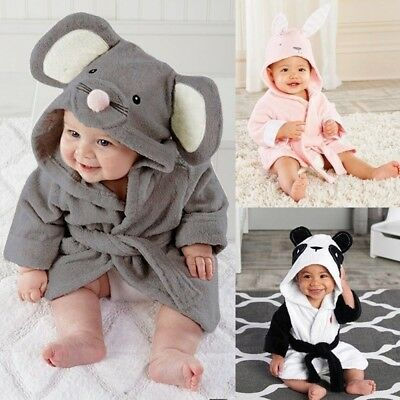 Kids Baby Boys Girls Bathrobe Animals Hooded Towel Pajamas 1-5Y