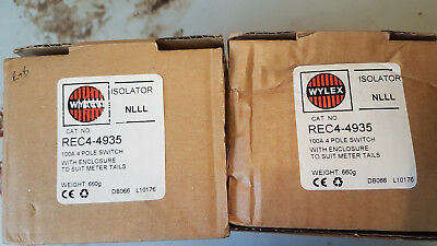 Wylex 100A 4 POLE ISOLATOR ac22a for two  please see photos