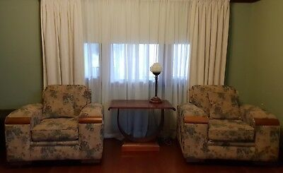 Gorgeous Authentic Antique / Retro Art Deco Club Lounge - Couch And Armchairs.
