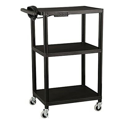 Adjustable 3 Shelf Mobile Utility Service Cart Rolling Wheels with Power Strip
