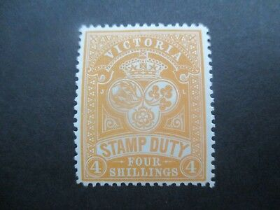 Victoria Stamps: 4/- Stamp Duty Mint with gum   - Rare   (v133)