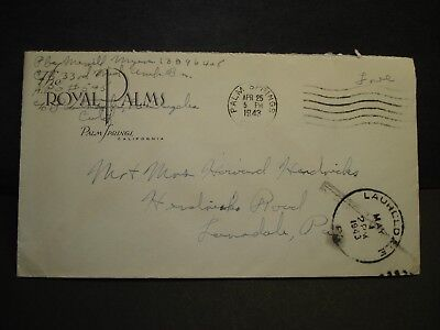APO 545 PALM SPRINGS, CALIF Army Cover 1943 WWII 33rd MED AMB Bn Soldier's Mail