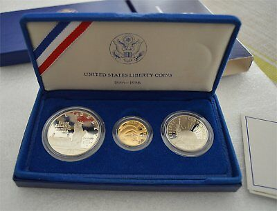 1986 Statue of Liberty Proof 3 Coin - $5 Gold, $1 Silver  & .50 Clad Set