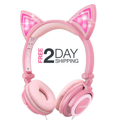 Cat Ear Headphones Kid Foldable Wired On-Ear Headsets Headset Girls Gift, Pink