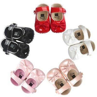 Newborn Baby Girls Bowknot Princess Pram Shoes Toddler Kids Soft Sole Prewalkers