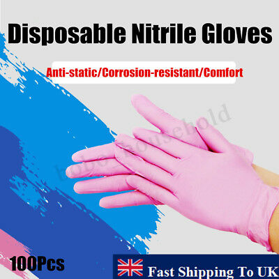 100Pcs S/M/L Large Bodyguards PINK Nitrile Rubber Latex Free Disposable Gloves