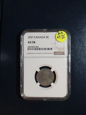 1927 Canada Five Cents NGC AU58 BETTER DATE 5C NICKEL COIN PRICED TO SELL!