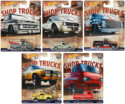 Shop Trucks Car Culture Set 5 Modellautos Ford VW Chevy 1:64 Hot Wheels FPY86
