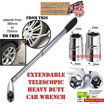 Telescopic 17 19 21 23mm Extendable Wheel Car Van Brace Socket Tyre Nut Wrench