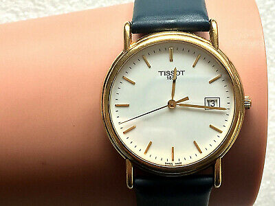 18CT GOLD GENTS 34mm TISSOT DATE 1853 WATCH Leather STRAP working Beautifully
