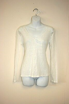 84ec29d90d4208 SANDRO PARIS 100% linen summer long sleeve Top with lace back in ...