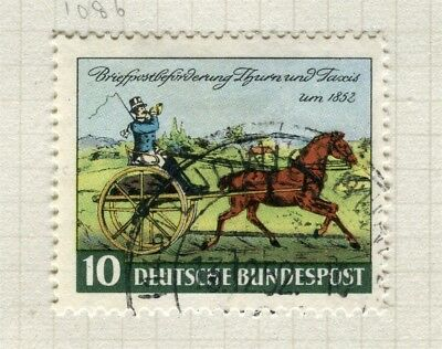 GERMANY; WEST 1952 early Thurn Taxis Stamp issue fine used value