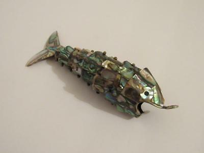 "6"" Silver Plated Fish Bottle Opener / Mexico / Large Articulated / Abalone Shell"