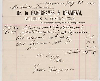 Billhead Invoice Wath Upon Dearne Hargreaves & Bramham Builders 1888 Edge Wear