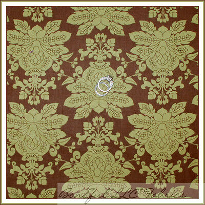 BonEful Fabric Cotton Quilt Green Brown Victorian Damask Xmas Flower Leaf SCRAP