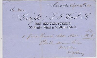 Billhead Invoice Wood &co Manchester Hat Manufacturer 1861