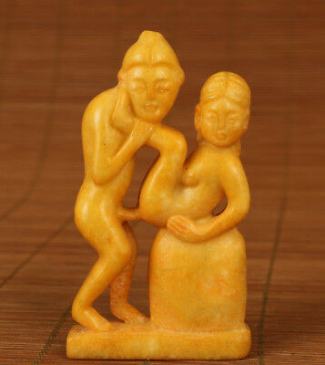 china old Jade Hand Carved Belle tiger Statue Collectable pendant netsuke art