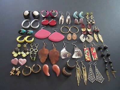 Lot of 30 Pair Vintage to Modern Pierced Earrings Post, Dangle & Hoop (Lot #1)