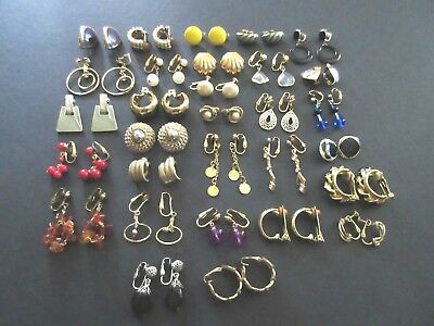 Lot of 30 Pair Vintage to Modern Gold & Silver Tone Metal Clip Earrings (Lot #7)