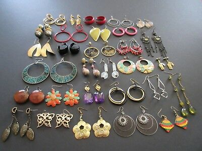 Lot of 30 Pair Vintage to Modern Pierced Earrings Dangle & Hoop (Lot #9)