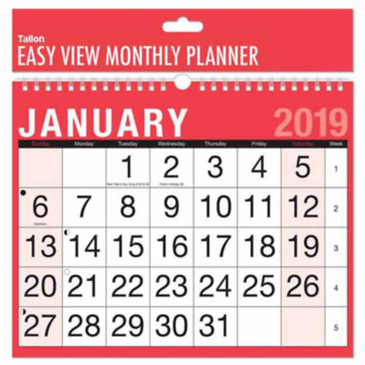 2019 Month to View Hanging Wall Calendar Large Planner Easy Annual Wall Plan
