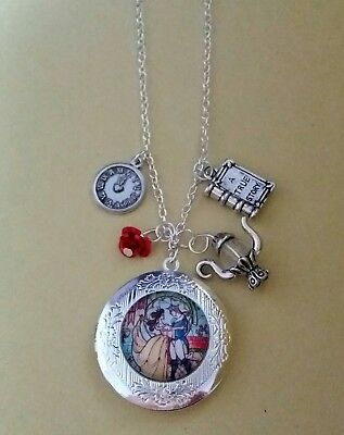 Beauty and The Beast Disney Inspired Locket Necklace Belle Rose Teapot Gift Bag