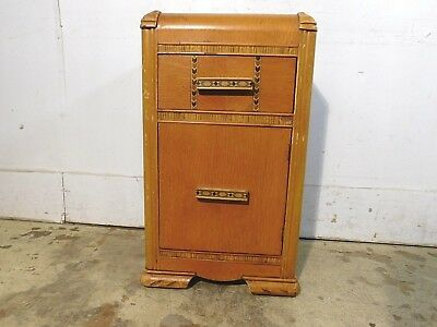 Vintage c1939 Art Deco Nightstand End Table Storage LP Chairside Record Cabinet