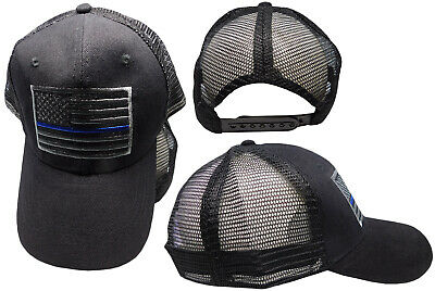 MESH Support TBL Police Sheriff THIN BLUE LINE USA Flag Patch Cap CAP991M  Hat 9f2d28e315eb