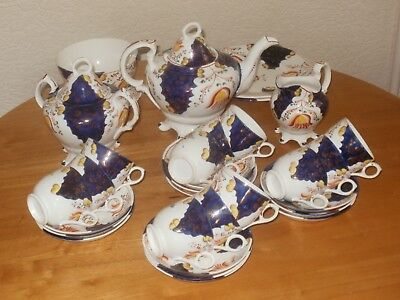 Striking 31 piece Gaudy Welsh tea set - tulip pattern c1900