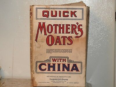 vintage QUICK MOTHERS OATS CEREAL BOX Quaker with China dish premium BOX ONLY