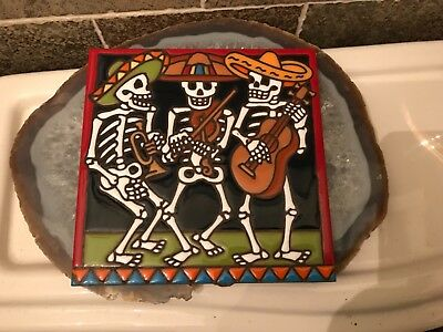 """MEXICAN Day of the Dead Mariachi's 6"""" Tile Italy"""