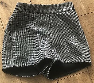 Girls M&s Sparkly Party Shorts In Black & Silver Age 5-6 Years