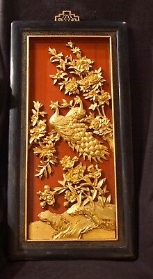 Fine Antique Hand Carved Oriental Qing Wooden Wall Panel With Peacocks & Foliage