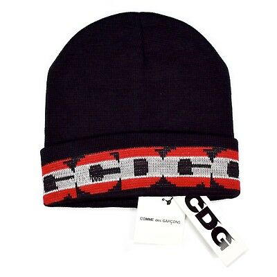 491bf93e42eb22 NWT Comme des Garcons CDG Black Red Gray Logo Knit Beanie Hat DS 2018  AUTHENTIC