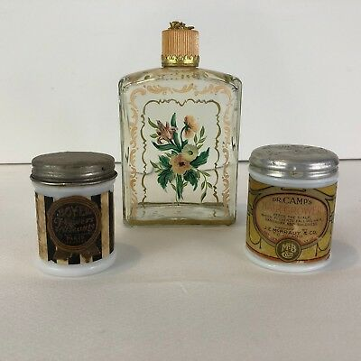 Antique Perfume Bottles Milk Glass & Painted Floral Lot of 3