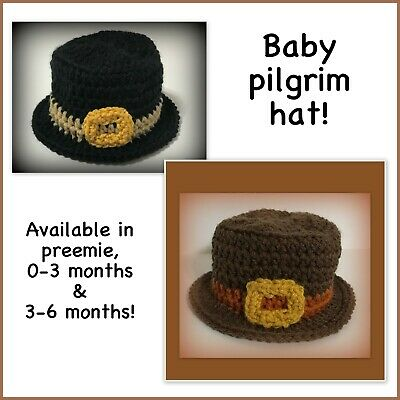 READY TO SHIP Baby pilgrim hat baby preemie 0-3 months 3-6 months Thanksgiving