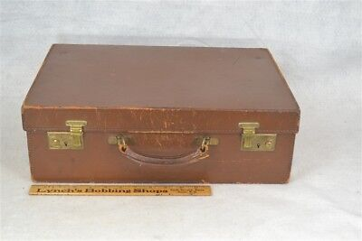 suitcase satchel brown briefcase leather sample luggage overnight  antique 1920