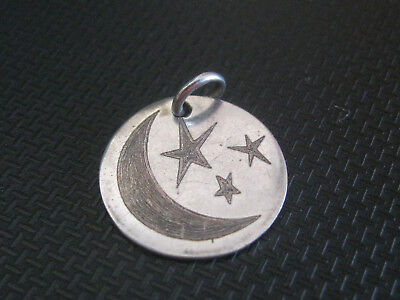 sterling silver jewelry 925  PENDANT  MOON AND STARS MARKED