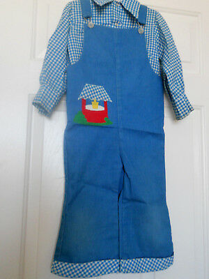 VINTAGE GOOD LAD CORDUROY  OVERALL & L/S TOP APPLIQUE 4T 45 yrs old