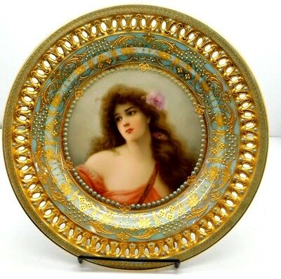 """Museum Quality Reticulated Royal Vienna Wagner Plate """"Summer"""" Raised Gold&Jewels"""