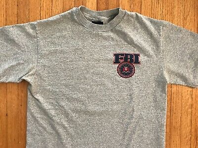 VTG 80s FBI T-SHIRT GRAY MEN SZ MEDIUM M 1980s F.B.I. SINGLE STITCH COTTON CIA