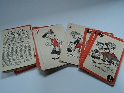 Vintage 1939 Pinocchio Playing Cards and instructions, Whitman Publ.