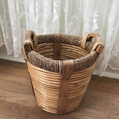 Vintage Basket Thick Wicker Round Primitive Garden Farm Strong Wooden Handles