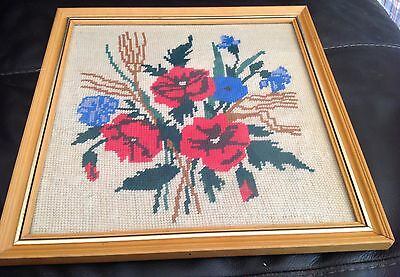 Completed Needlepoint Tapestry Picture Framed Floral Poppy & Cornflowers