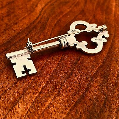 - Mexican Sterling Silver  Brooch In The Shape Of A Key: Taxco No Monogram