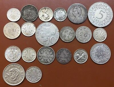 World Coin Lot Of 20 Silver Coins Coin-.5/1/5 Mark/10:1 Shilling/10:20 Centavos/
