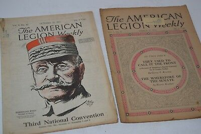 "Vintage Set of 2 1921 ""The American Legion Weekly"" Magazines"