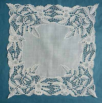 Antique small Youghal needle lace handkerchief  -  leaf design